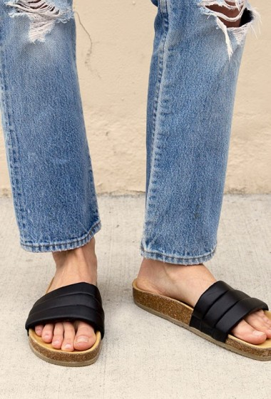 Shoe Crush: Leather Slide Sandals With A Cork Sole