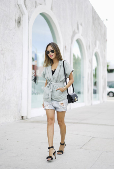 Belted Jacket and Ripped Denim Shorts