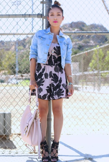 Outfit of the Day: Romper + Denim Jacket