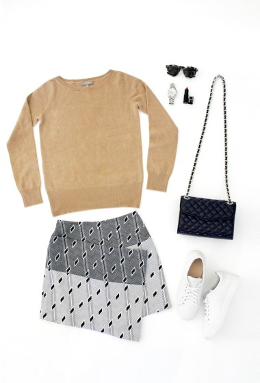 A Laid-Back Cool Way To Wear A Statement Skirt For Fall