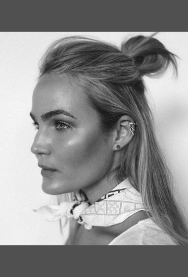 Brooke Testoni Inspires With A Half-Up Top Knot And Bold Brows