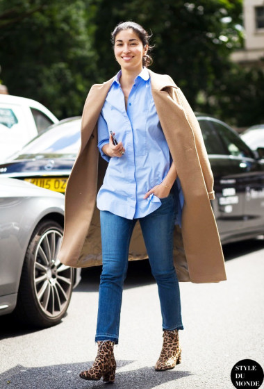 Street Style: Get Caroline Issa's Camel Coat And Leopard Boot Look