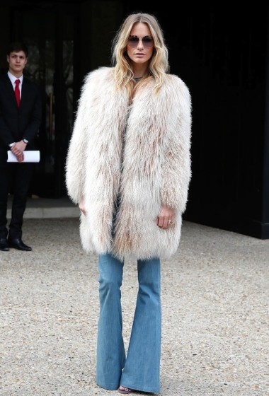 Steal Poppy Delevingne's Boho-Rocker Fur And Flared Jeans Look