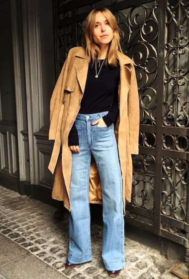 Get Pernille Teisbaek's Chic Suede Trench And Wide-Leg Denim Look