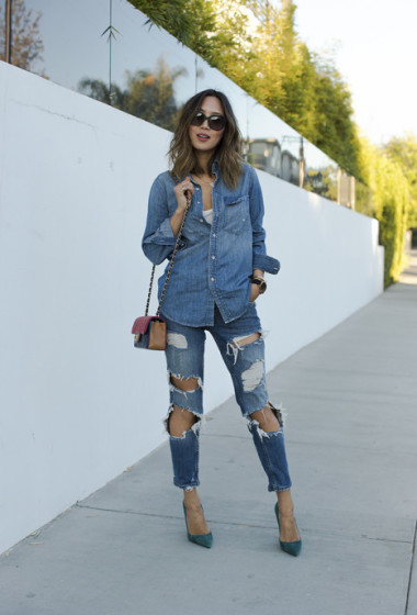 Denim Shirt and Ripped Denim Jeans