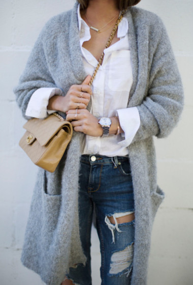 Oversized Cardigan and Ripped Jeans