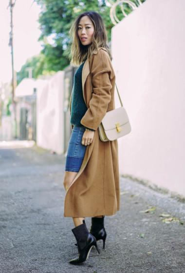 Camel Coat and Denim Skirt