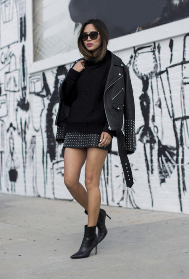 Studded Skirt and Leather Jacket