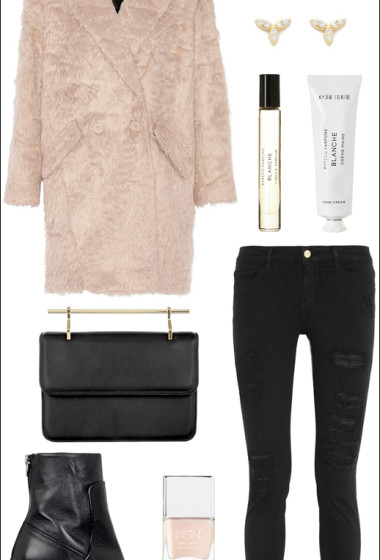 An Edgy Pink Coat Look For Winter