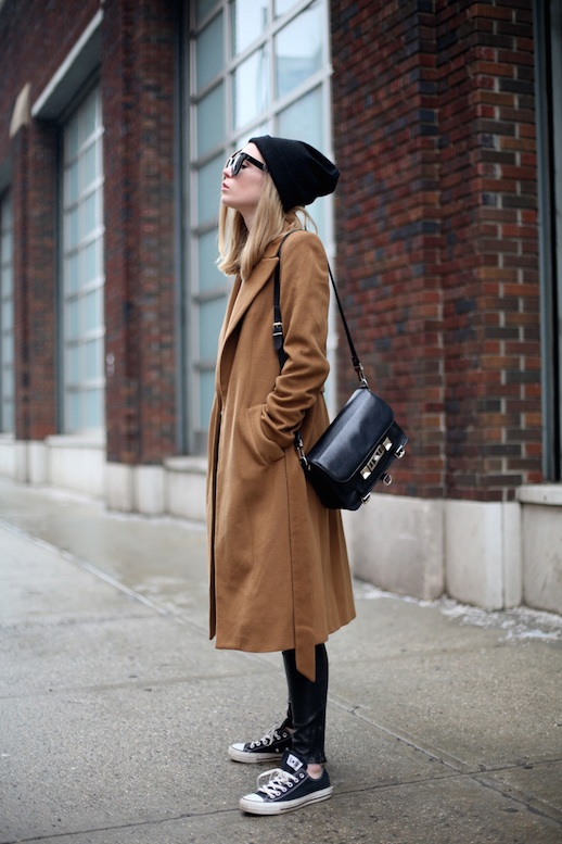 Le Fashion Blog Ways To Wear Black Converse Sneakers Beanie Camel Coat Proenza Schouler Leather Pants Via Fashion Squad