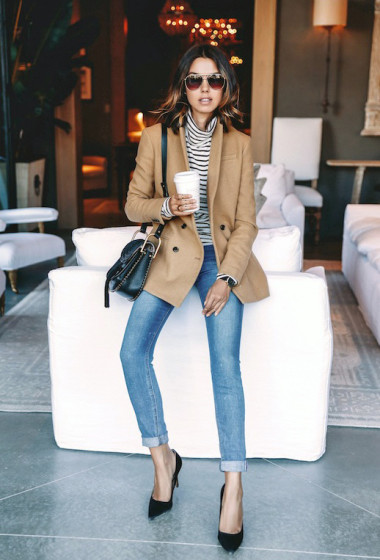 A Casual Chic Take On A Camel Blazer