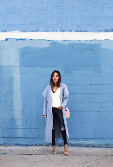 Blue Coat and Ripped Skinny Jeans