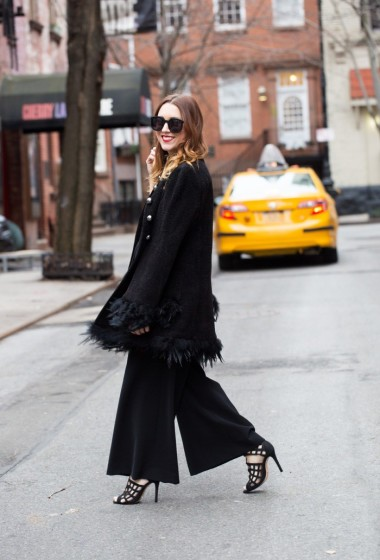 Black Feathered Coat x Wide-Legged Jumpsuit