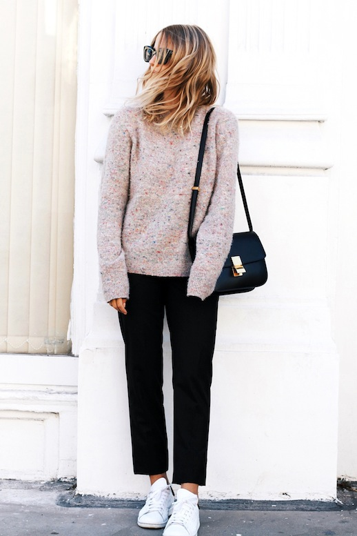 Le Fashion Blog Blogger Style Pink Speckled Sweater Celine Box Bag Cropped Black Pants Stan Smith Adidas Sneakers Via Mija