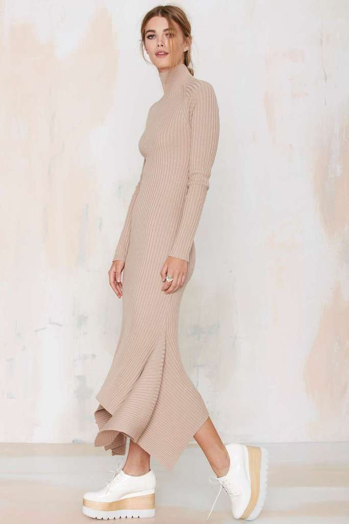 Le Fashion Blog Nasty Gal Kozmic Ribbed Knit Maxi Dress Neutral Tie Back High Neck Sweater Jeffrey Campbell Stacked Wooden Platform Shoes