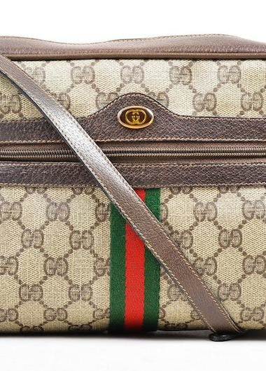 Gucci Bright Supreme Leather-Trimmed Coated Canvas Shoulder Bag: A First Time for Everything