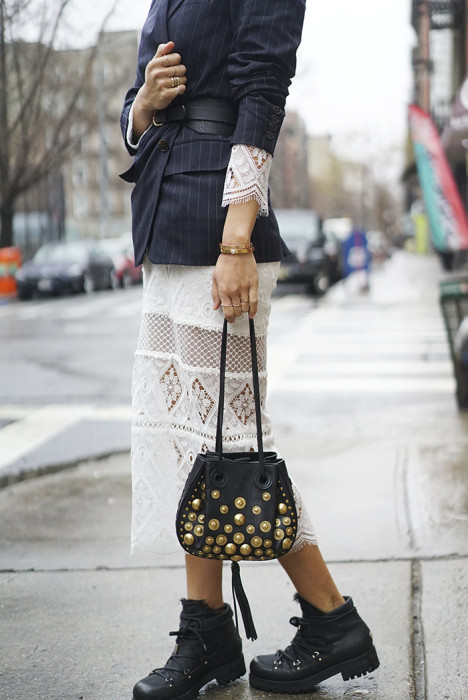 Lace Dress and a Blazer on a Rainy Day in NYC