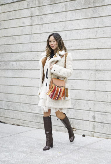 Shearling Coat and Chloe Dress