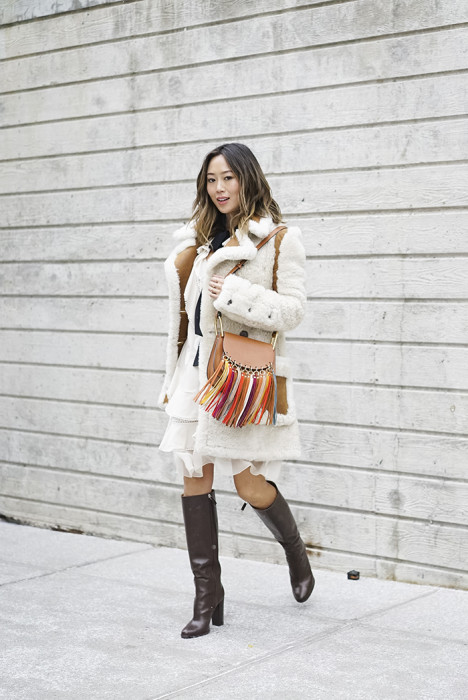 Shearling Coat and Chloe Dress