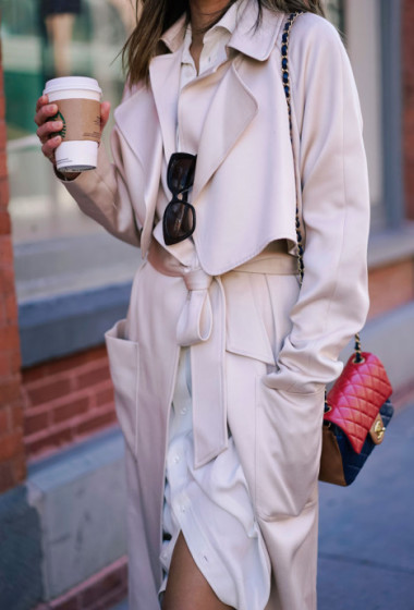 Ralph Lauren Shirtdress and Tibi Coat During NYFW