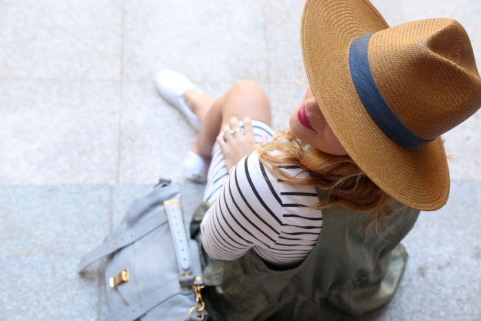 Christine Cameron of My Style Pill wearing Janessa Leone hat with striped dress and white vans 4