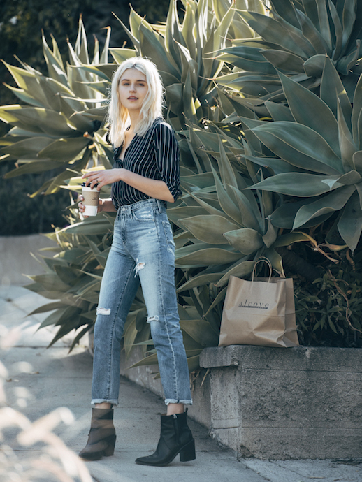 Le-Fashion Blog Blogger Style Casual Chic Striped Shirt Jeans Boots Via Fire On The Head