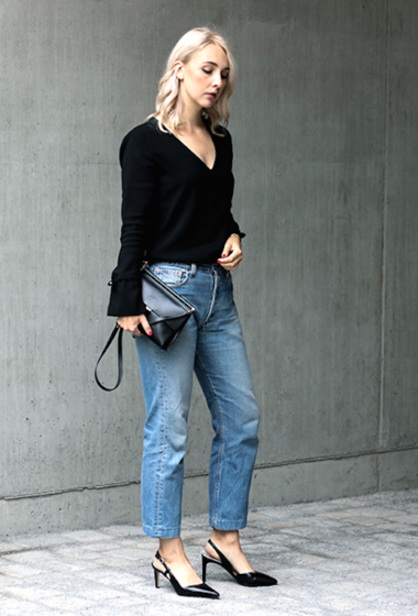 A Blogger-Approved Denim and Slingback Heels Look
