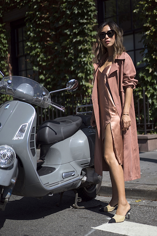 Le Fashion Blog Blush Toned Slip Dress Blush Trench Coat Satin Pumps Via Song Of Style