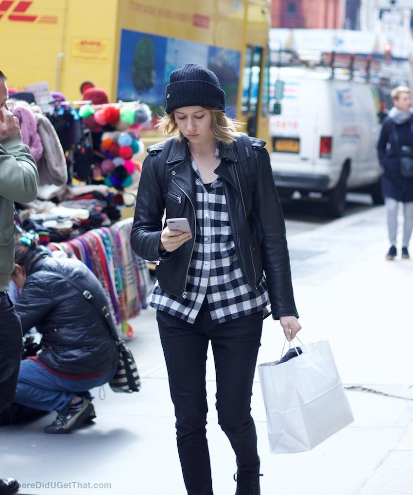 black leather jackets and plaid shirts