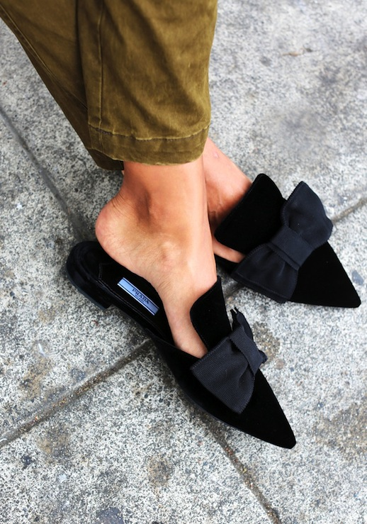 Le Fashion Blog Fall Blogger Style Prada Pointed Toe Mule Flats With Bows Brown Pants Via Sincerely Jules