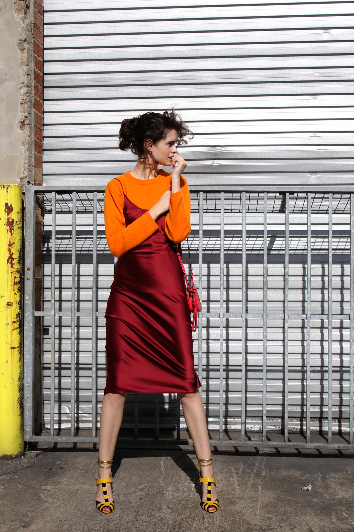 Tylynn Nguyen slip dress and Jac+ Jack cashmere sweater