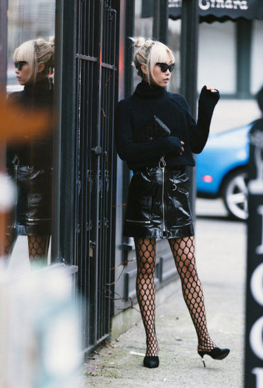 5 Cool Leather Skirts And Fishnets To Compliment Them
