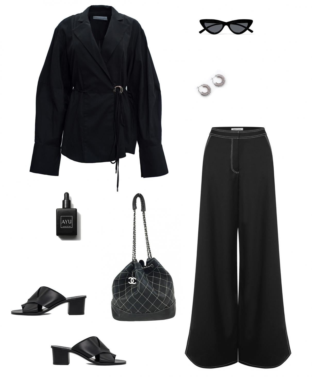 Michael Lo Sordo Shirt | Anna Quan wide leg pants | CHANEL bucket bag |HarperandHarley outfit collage