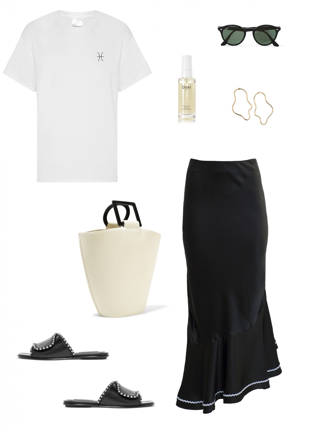 Double Trouble Gang Star Sign T-shirt | Marysia Swim silk skirt | Solid and Striped tote bag | Harper and Harley outfit inspo
