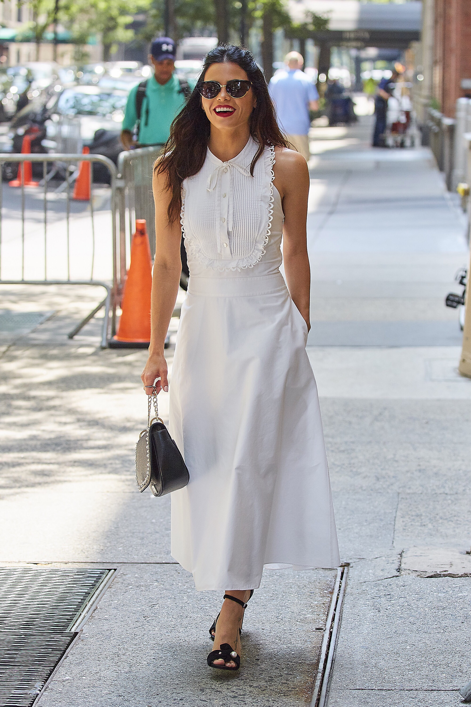 Le Fashion Blog Jenna Dewan Tatum Classic White Sundress Black Heels Via Harpers Bazaar