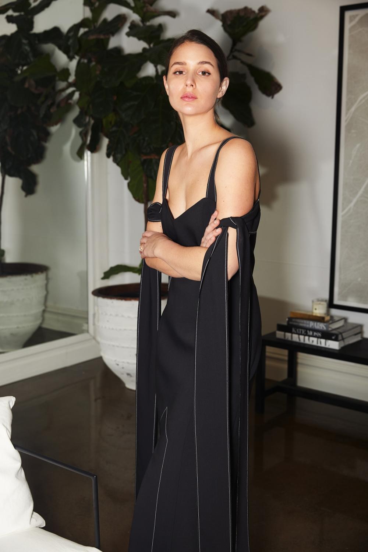 Harper and Harley | Black ELLERY tie up sleeve dress | Effortless | Style