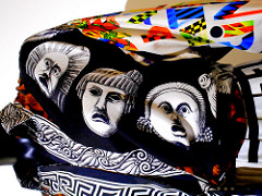 """""""Theatrical masks"""" – """"Dialoghi Dissing / Gianni Versace – Magna Grecia Tribute"""" exhibition up to September 20, 2017 at…"""