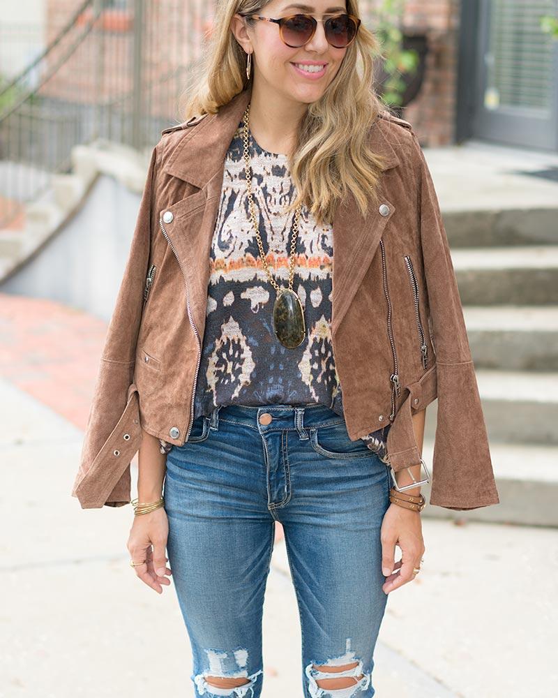 Boho outfit: Blanknyc suede jacket