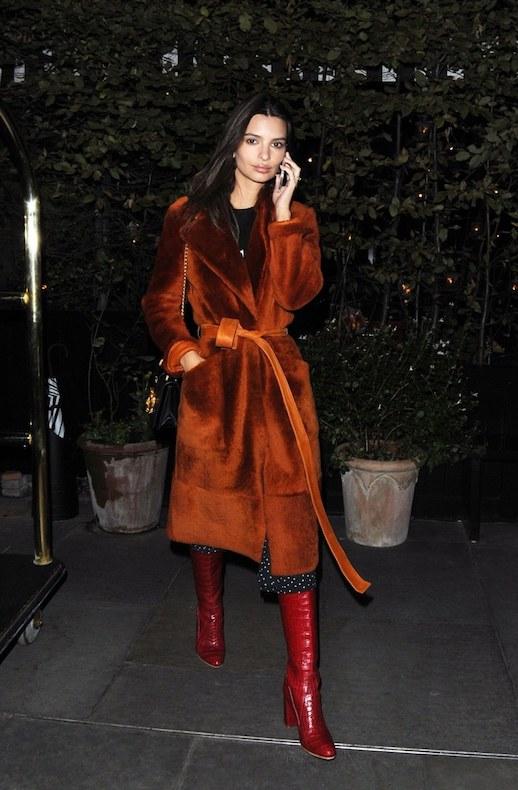 Le Fashion Blog Emily Ratajkowski Statement Burnt Orange Fur Coat Polka Dotted Pants Red Heeled Boots Via Vogue