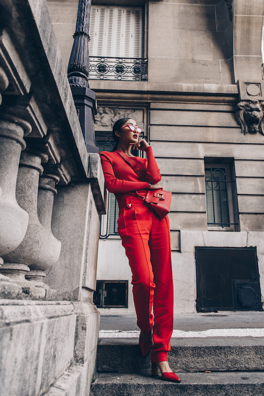Le Fashion Blog Monochromatic Red Sunglasses Sweater Trousers Red Mules Via The Chriselle Factor