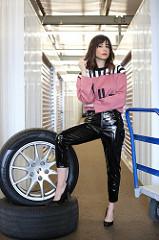Gina Papa in vinyl pants