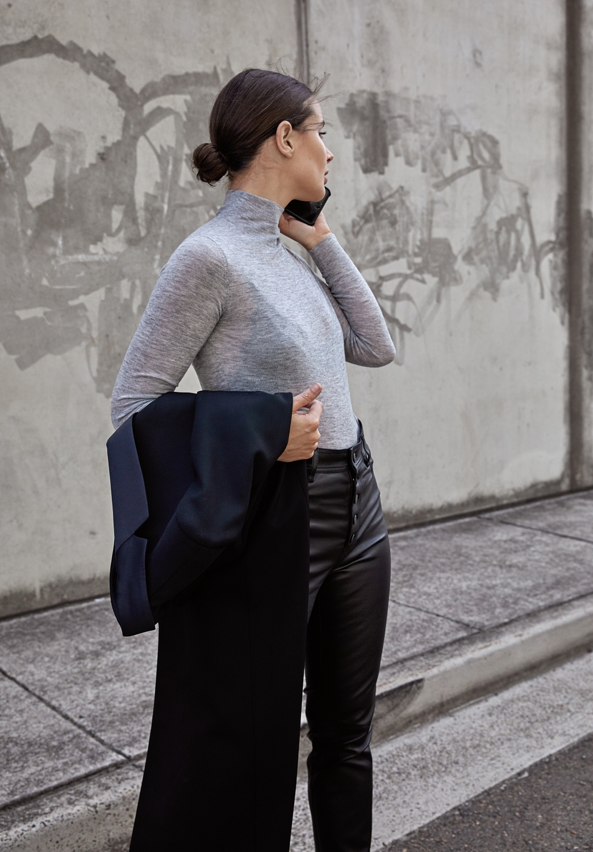 Black and Grey street style outfit | Joseph | HarperandHarley