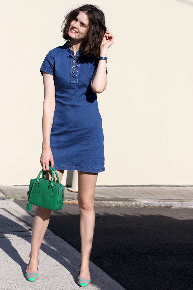 Chloe Hill Wearing Misguided Lace Up Denim Dress